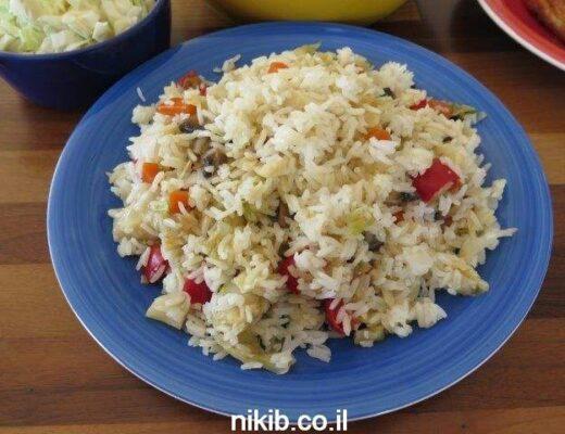 ארוחה פשטידת תפוחי אדמה, עוף בגריל ואורז