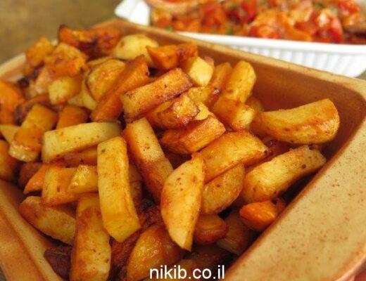 מתכון לתפוחי אדמה ובטטות אפויים בתנור