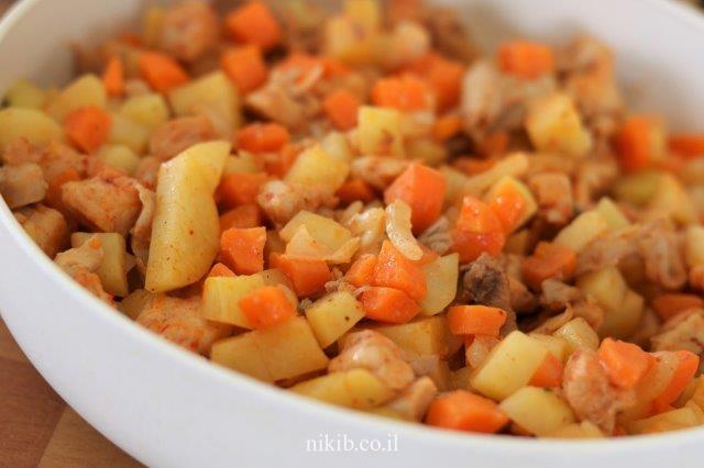 חזה עוף עם ירקות במיקרו