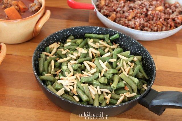 שעועית ירוקה עם שקדים