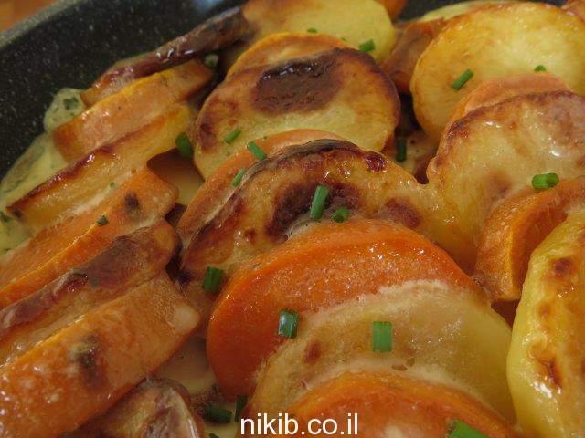 תפוחי אדמה ובטטות בשמנת