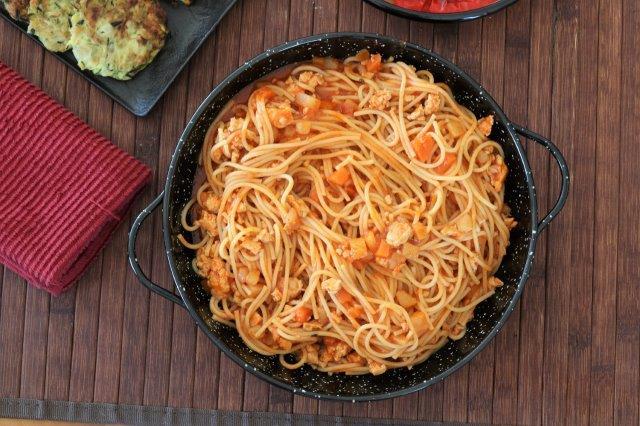 ספגטי בולונז עם ירקות