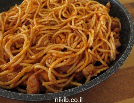 חזה עוף מוקפץ עם ספגטי ופתיתים