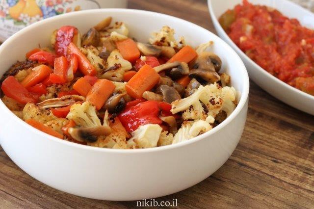 פטריות עם ירקות