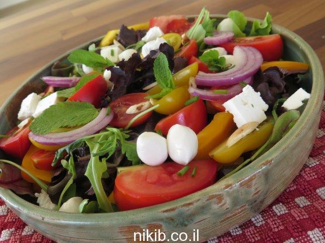 סלט ירקות עשיר עם גבינות לשבועות