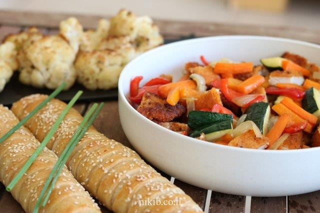 שניצל מוקפץ עם ירקות