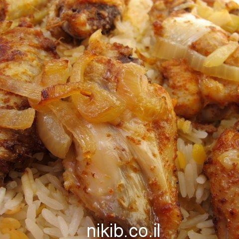 עוף עם אורז ועדשים אדומות בתנור