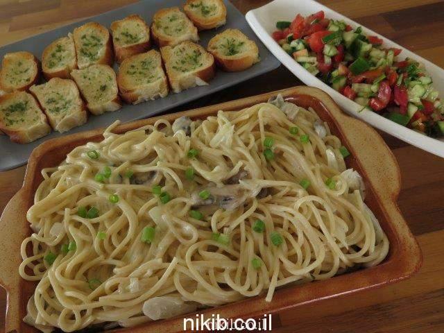 פסטה מוקרמת בשמנת ופטריות בתנור