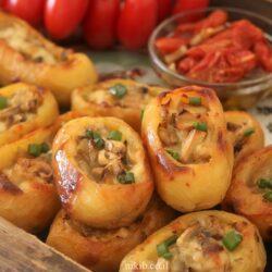 תפוחי אדמה ממולאים פטריות וגבינות