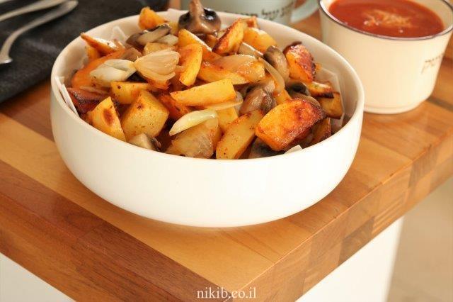 תפוחי אדמה אפויים עם פטריות