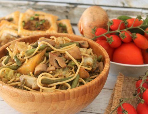 ספגטי מוקפץ עם שעועית ירוקה