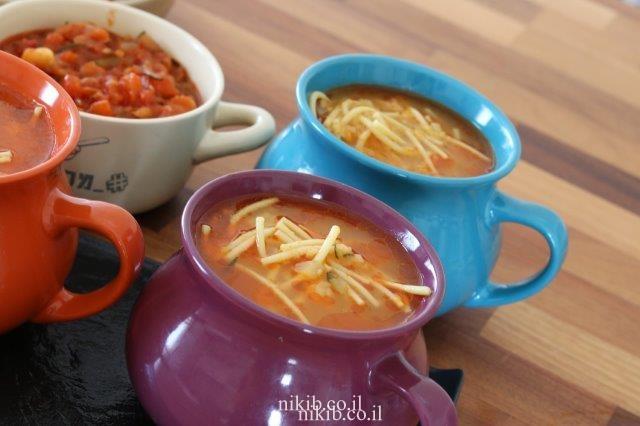 מרק ירקות וספגטי