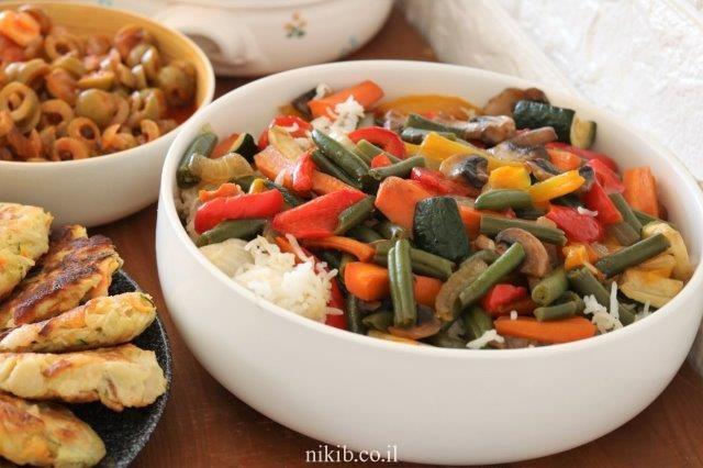אורז עם ירקות מוקפצים