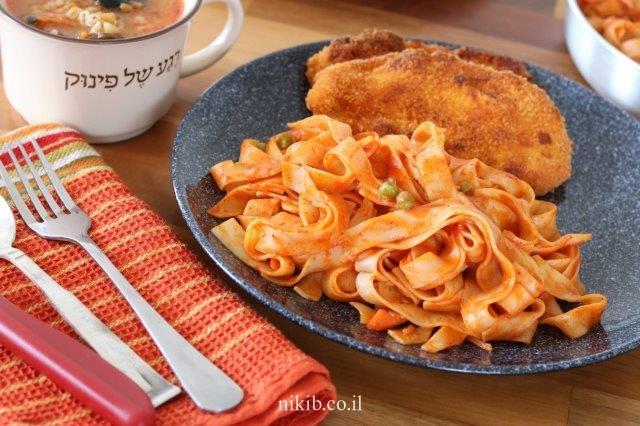 ספגטי עם אפונה וגזר