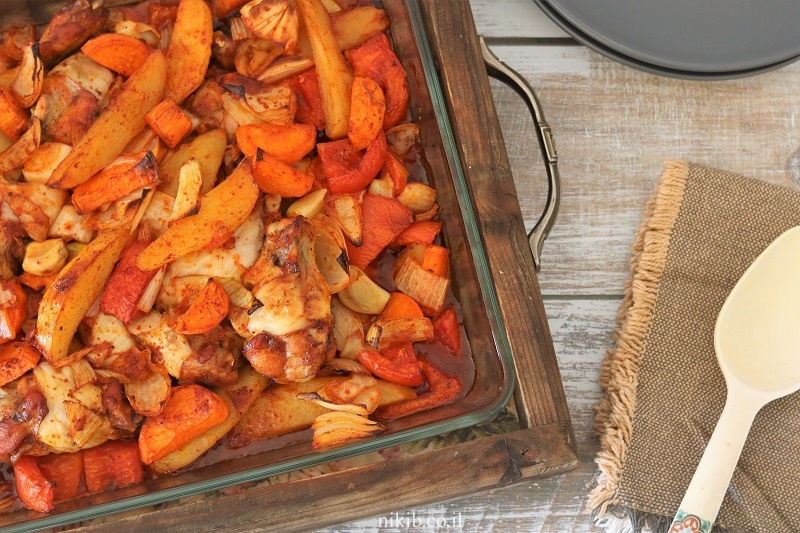 עוף עם ירקות בתנור של אמא