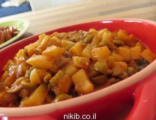 תפוחי אדמה עם זיתים ופטריות