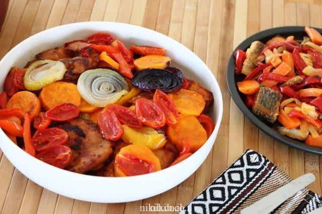סטייק שווארמה אפוי עם ירקות