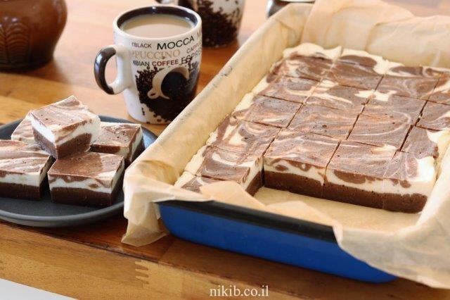 בראוניז שוקולד ושמנת