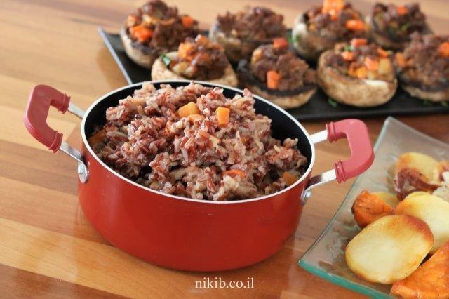 אורז אדום מלא עם גזר