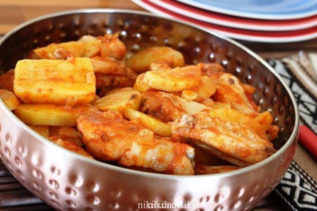 כנפיים עם תפוחי אדמה במיקרו