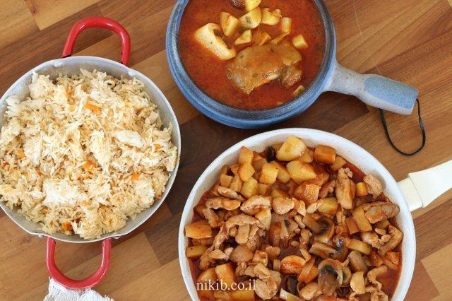 הודו עם תפוחי אדמה ופטריות