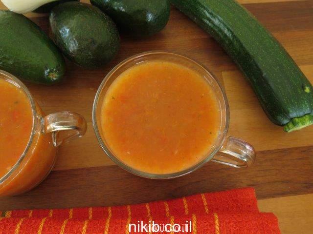 מרק פלפלים קלויים ועגבניות