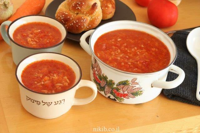 מרק עגבניות ואורז ללא שמן