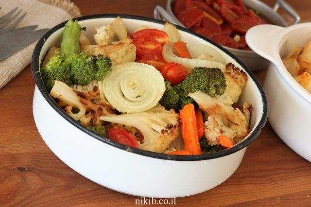 ברוקולי וכרובית בתנור