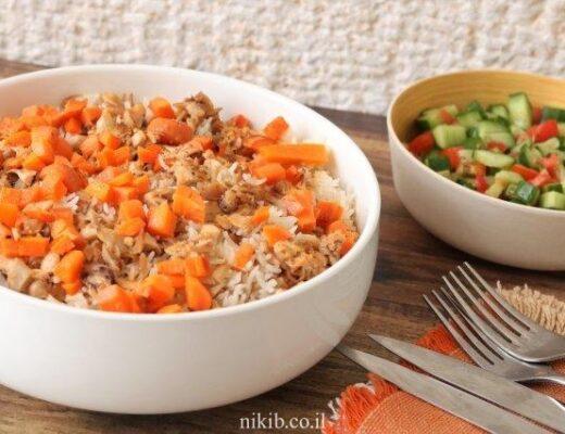 קומבינת עוף עם אורז ופתיתים