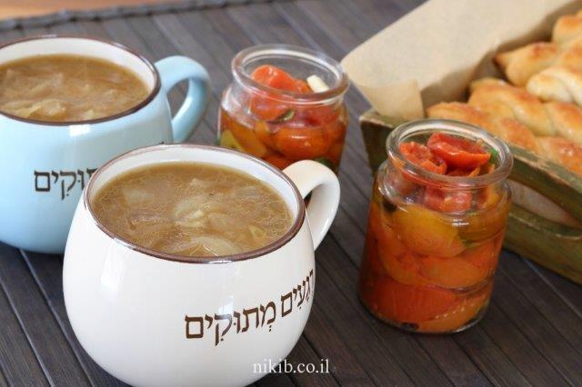 עגבניות מיובשות + מרק בצל