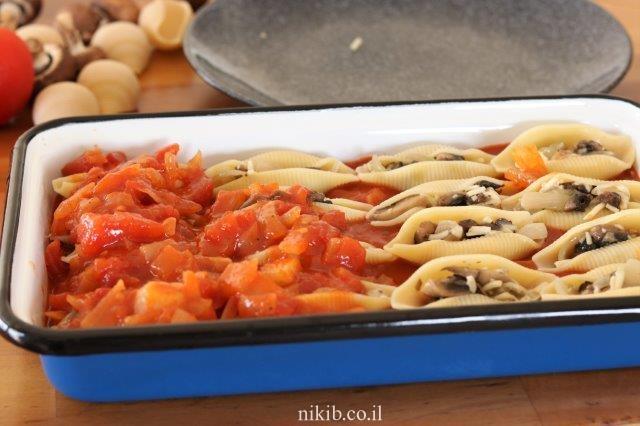 מאפה פסטה ממולא פטריות וגבינות