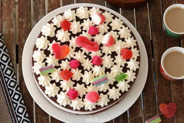 עוגת מוס נוגט ושוקולד