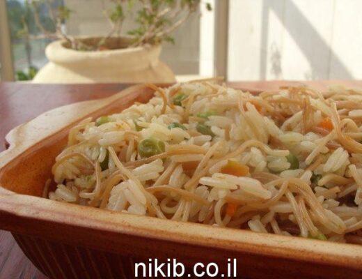 אורז עם אטריות אפונה וגזר