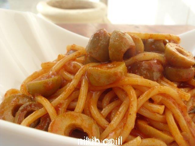 ספגטי עם זיתים