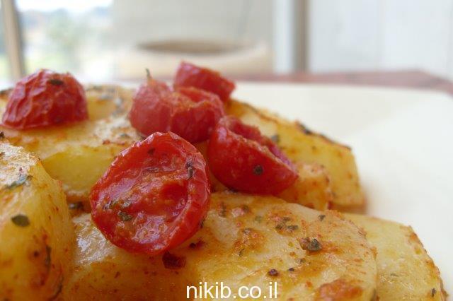 תפוחי אדמה ועגבניות בתנור
